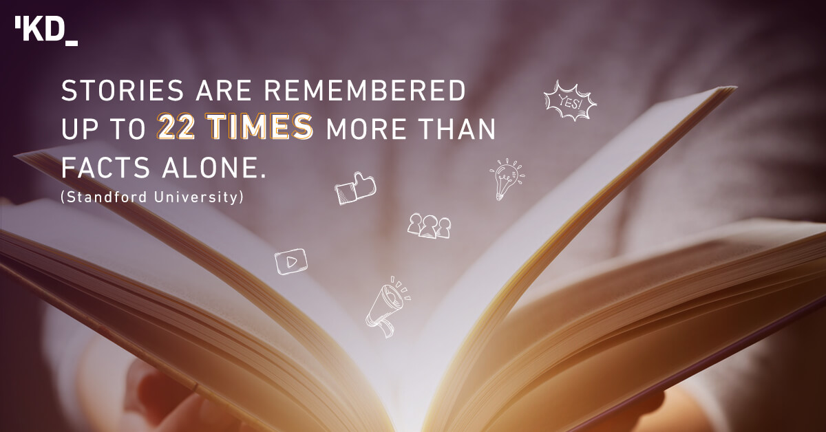 Stories are remembered up to 22 times more than facts alone.